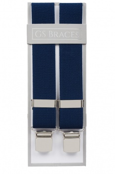 Plain Blue Elastic Trouser Braces With Large Clips
